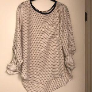Loft maroon and white polka dot blouse